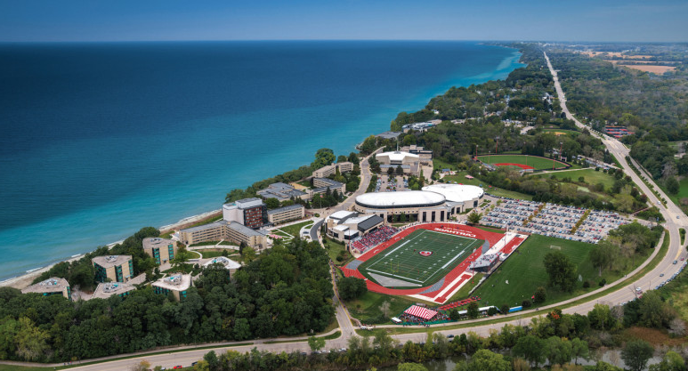 An aerial view of Carthage's campus.