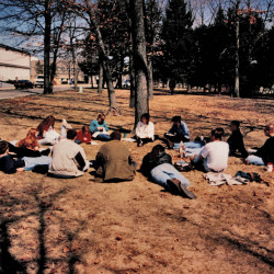 Students studying in front of Lentz Hall in the 90s.