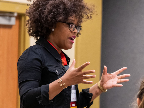 "Dominique Pritchett '07 led a breakout session titled ""7 Epic Steps to Building Mental We..."
