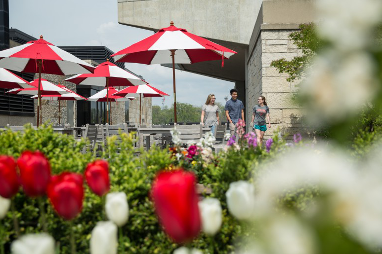 Two Carthage students walk with a prospective student across the Hedberg 图书馆 patio during June 2016.
