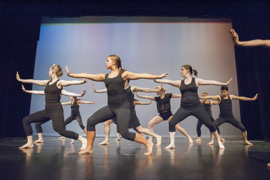 Students performing in the Spring 2014 dance show.