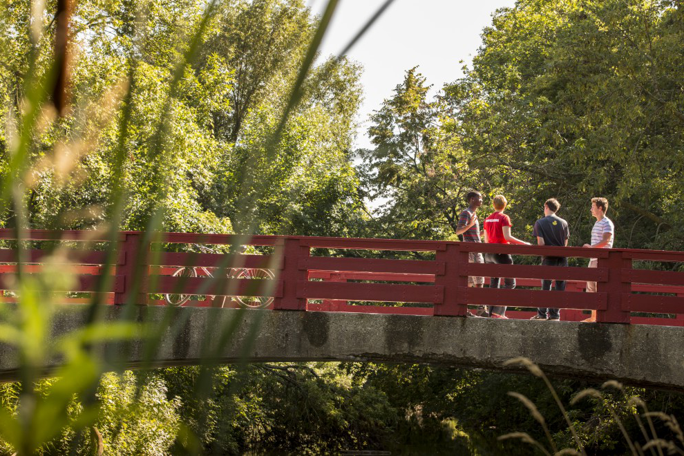 Students on the red bridge